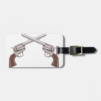 Pistol Handgun Drawing Isolated On White Backgroun Luggage Tag