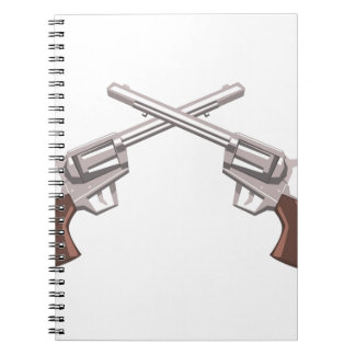 Pistol Handgun Drawing Isolated On White Backgroun Notebooks