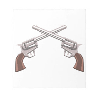Pistol Handgun Drawing Isolated On White Backgroun Notepad