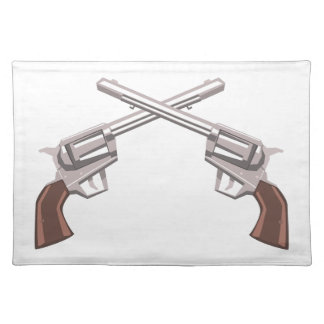 Pistol Handgun Drawing Isolated On White Backgroun Placemat
