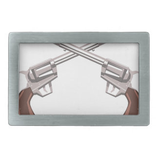 Pistol Handgun Drawing Isolated On White Backgroun Rectangular Belt Buckle