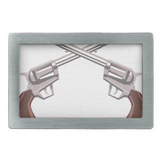 Pistol Handgun Drawing Isolated On White Backgroun Rectangular Belt Buckles