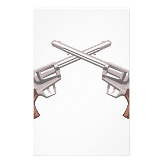 Pistol Handgun Drawing Isolated On White Backgroun Stationery