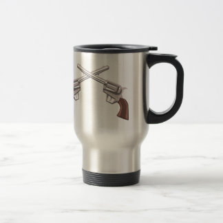 Pistol Handgun Drawing Isolated On White Backgroun Travel Mug