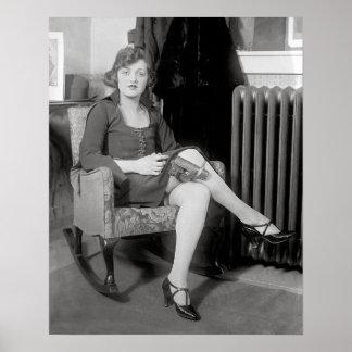 Pistol Hidden in Garter, 1922. Vintage Photo Poster