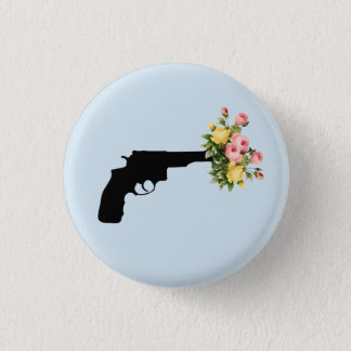 Pistol of flowers Plate 1 Inch Round Button