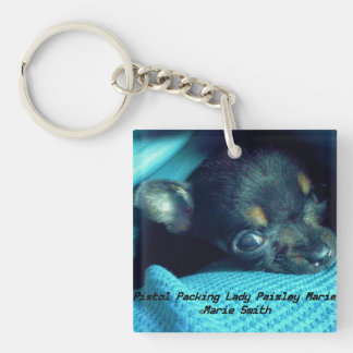 Pistol Packing Lady Paisley Marie Double-Sided Square Acrylic Keychain