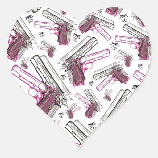 Pistol Pearl, quirky gun and cherries pattern. Heart Sticker