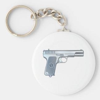 Pistol pistol gun basic round button keychain