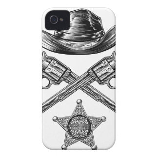 Pistols and Cowboy Hat with Sheriff Star Badge iPhone 4 Case