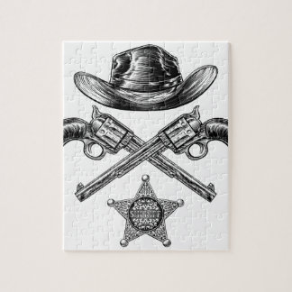 Pistols and Cowboy Hat with Sheriff Star Badge Jigsaw Puzzle