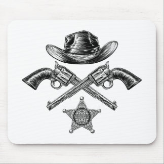 Pistols and Cowboy Hat with Sheriff Star Badge Mouse Pad