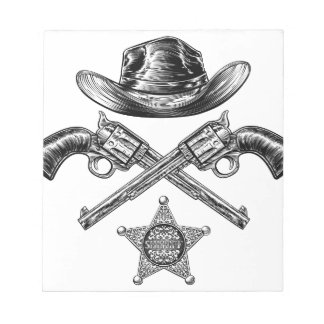 Pistols and Cowboy Hat with Sheriff Star Badge Notepad
