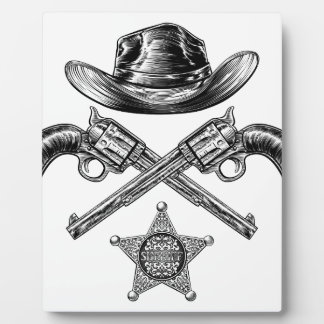 Pistols and Cowboy Hat with Sheriff Star Badge Plaque