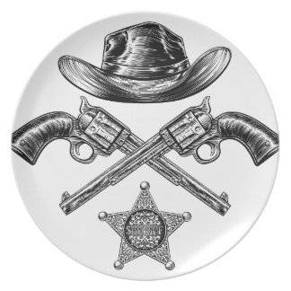Pistols and Cowboy Hat with Sheriff Star Badge Plate