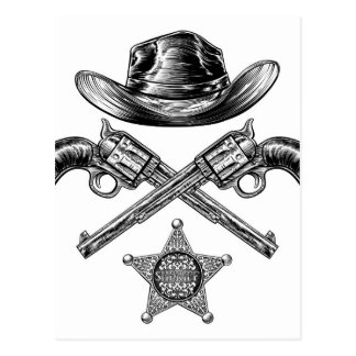 Pistols and Cowboy Hat with Sheriff Star Badge Postcard