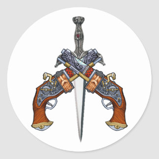 Pistols dagger pistols more dagger round sticker