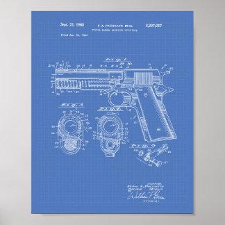 Pistols Structure 1965 Patent Art Blueprint Poster
