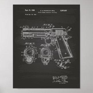 Pistols Structure 1965 Patent Art Chalkboard Poster