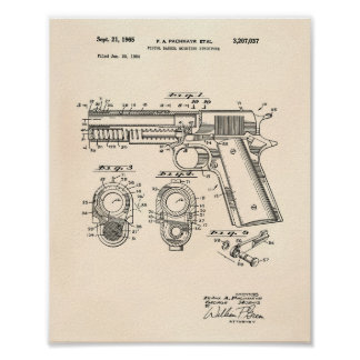 Pistols Structure 1965 Patent Art Old Peper Poster