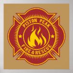 Piston Peak Fire & Rescue Badge Poster