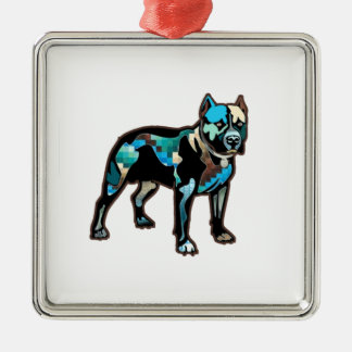 Pit Bull Abstract Design Pet Dog Add Name Text Silver-Colored Square Ornament