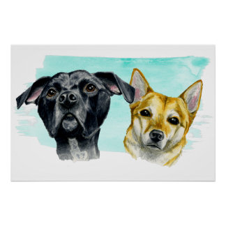 Pit Bull and Shiba Inu Watercolor Portrait Poster