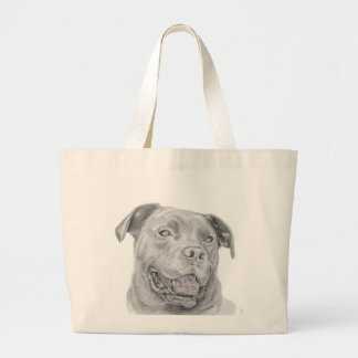 Pit Bull Art Drawing Large Tote Bag