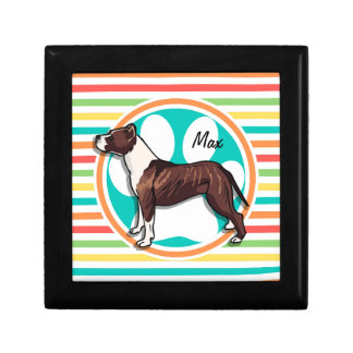 Pit Bull; Bright Rainbow Stripes Gift Box