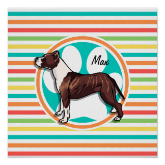 Pit Bull Bright Rainbow Stripes Poster