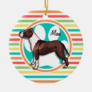 Pit Bull; Bright Rainbow Stripes Round Ceramic Ornament