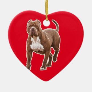 Pit bull brown ceramic heart ornament