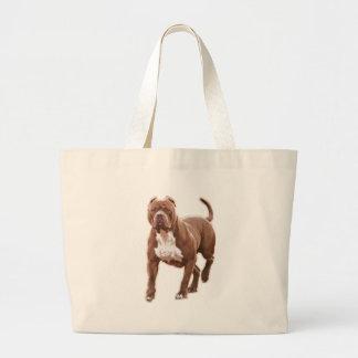 Pit bull brown large tote bag