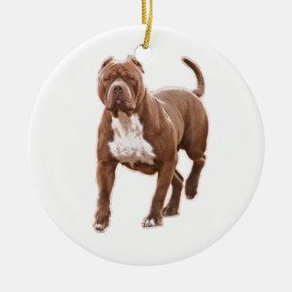 Pit bull brown round ceramic ornament