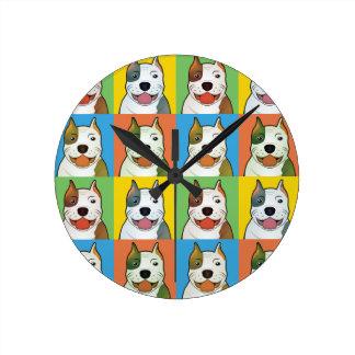 Pit Bull Cartoon Pop-Art Round Clock