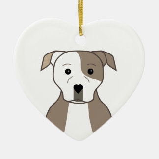 Pit Bull Ceramic Heart Ornament