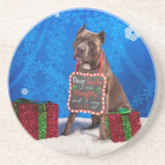 Pit-Bull Christmas Beverage Coaster
