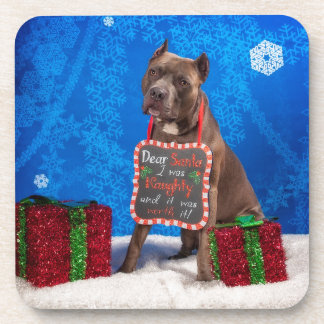 Pit-Bull Christmas Drink Coaster
