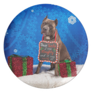 Pit-Bull Christmas Plate