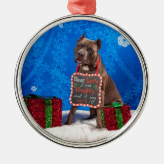 Pit-Bull Christmas Silver-Colored Round Ornament