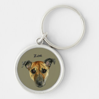 Pit Bull Dog Close Up Watercolor Painting Keychain