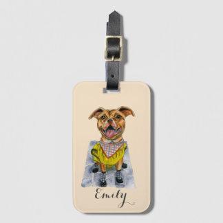 Pit Bull Dog in a Rain Coat Watercolor Bag Tag