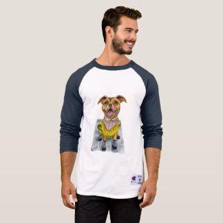 Pit Bull Dog in a Rain Coat Watercolor T-Shirt
