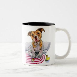 Pit Bull Dog in Bathrobe Watercolor Painting Two-Tone Coffee Mug