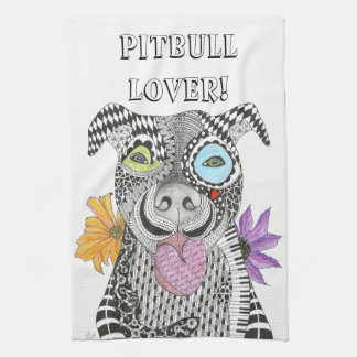 Pit Bull Dog Kitchen Towel (Customizable)