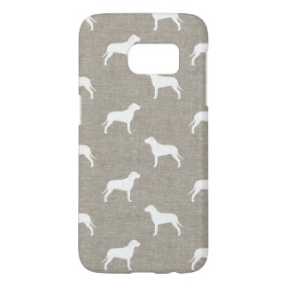 Pit Bull Dog Silhouettes Faux Linen Style Samsung Galaxy S7 Case