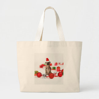 Pit Bull Dog with Gift box and Christmas Ornaments Large Tote Bag