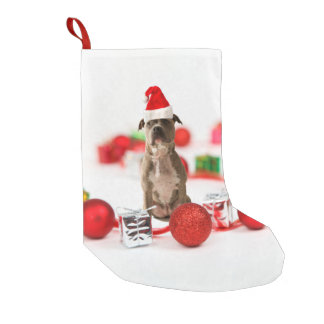 Pit Bull Dog with Gift box and Christmas Ornaments Small Christmas Stocking