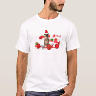 Pit Bull Dog with Gift box and Christmas Ornaments T-Shirt