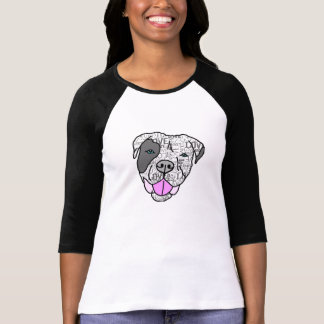 Pit Bull Love Graphic 3/4 Sleeve Tee Shirt